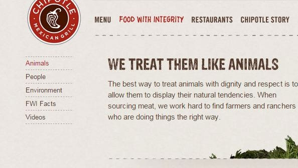 Chipotle touts its animal welfare values on its website.