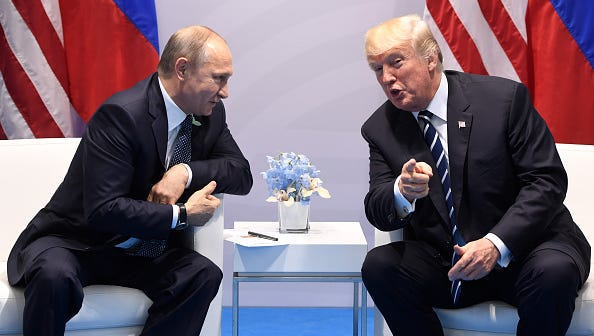U.S. President Donald Trump and Russia's President Vladimir Putin hold a meeting on the sidelines of the G20 Summit in Hamburg, Germany, on July 7, 2017.