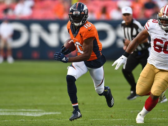 Aug 19, 2019; Denver, CO, USA; San Francisco 49ers defensive tackle Kevin Givens (60) chases down Denver Broncos wide receiver Emmanuel Sanders (10) in the first quarter at Broncos Stadium at Mile High. Mandatory Credit: Ron Chenoy-USA TODAY Sports