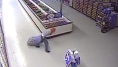 A screen grab from a surveillance video of a person
