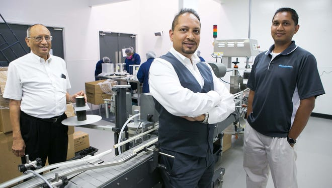 Amrish Patel (from left) and his sons Sarav and Samir are owners of Marlex Pharmaceuticals. The New Castle company is a Top Workplace, recognized by The News Journal.