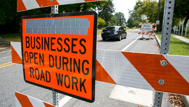A construction sign on Wednesday blocks Fifth and Clinton streets in Delaware City, where a $3.2 million bridge construction project is underway. The crossing carries Del. 9 over the Delaware City Branch Channel.