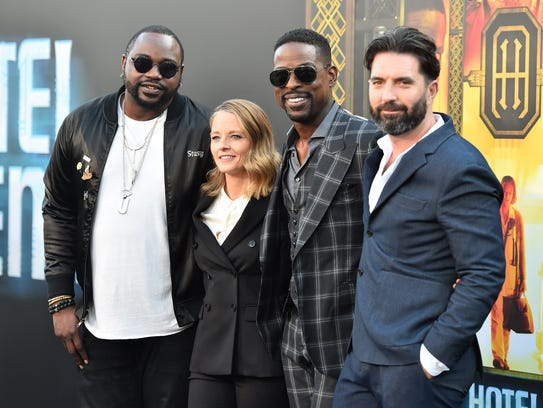 "It's the ""Hotel Artemis"" team at the film's premiere"