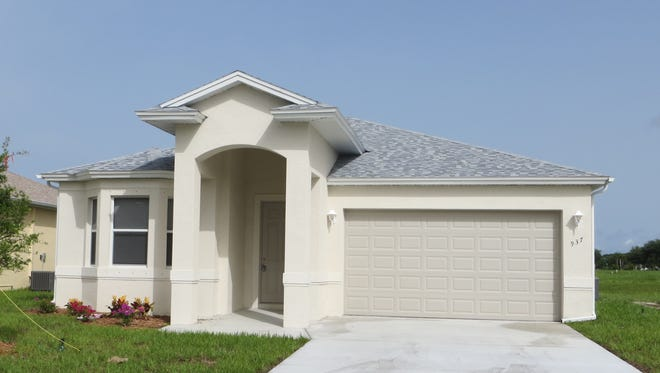Move-in ready homes at Arrowhead Reserve include the three-bedroom, two-bath Casa Feliz design, shown here as a previous model.