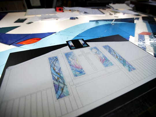 The rendering for a set of stained glass windows that