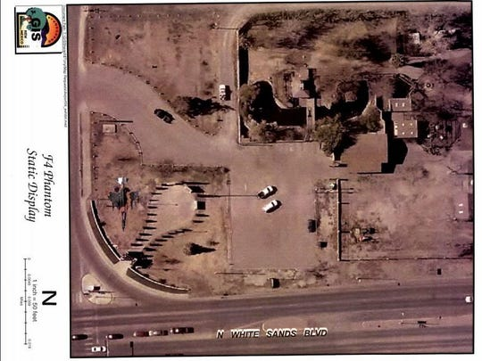 This mock-up shows how the city plans to display an F-4, which will be painted in Vietnam-era low level camouflagescheme, at the corner of White Sands Boulevard and 10th Street inside the Alamogordo Airborne Monument.