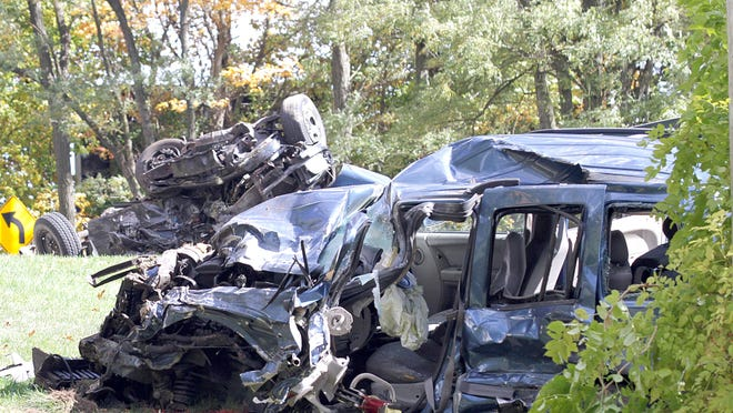 One person died at the scene of a two-vehicle crash Tuesday on U.S. 12 between Carls and County Farm roads.