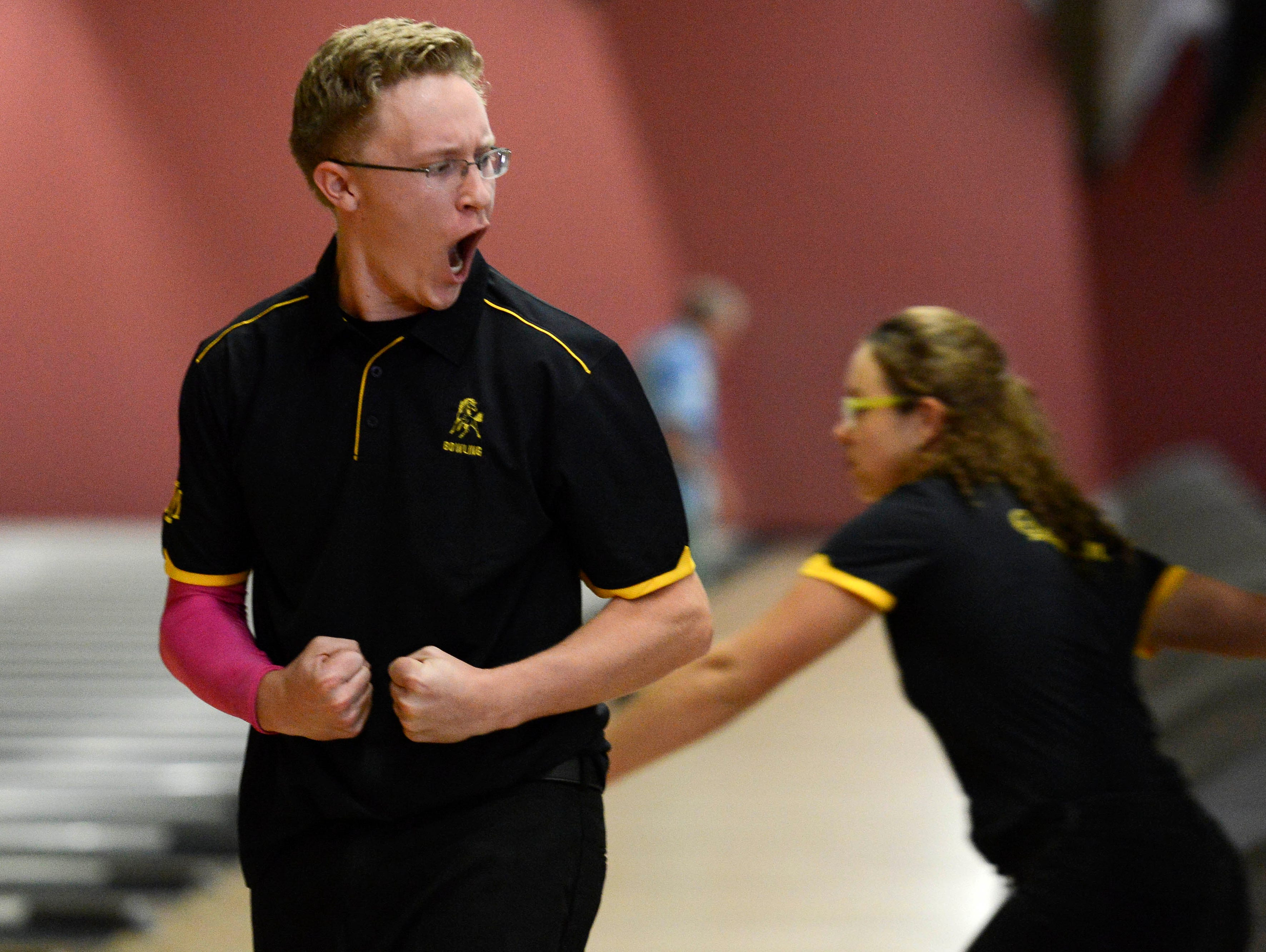 Connor Chambers of Merritt Island reacts to making a shot during a match earlier this season.