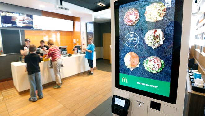 "The touch screen ordering kiosk for the new ""Create Your Taste"" build-a-burger concept that the McDonald's in Ozark launched on Thursday, June 11, 2015."