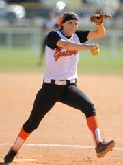 Glenwood pitcher McKenna Gillespie throws against Autauga Academy at the AISA State Championship Tournament at Lagoon Park in Montgomery, Ala., on Saturday May 2, 2015.