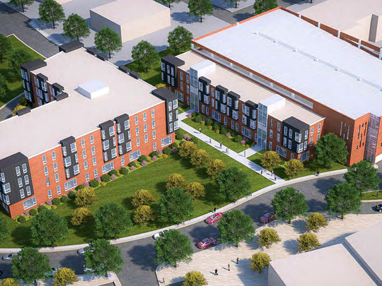 A rendering of the two condominiums and parking garage proposed along Albert and Evergreen avenues.