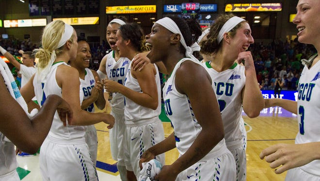 FGCU's Kaneisha Atwater screams with excitement after the final score of the Lady Eagles vs Hofstra University matchup Monday evening.  The Eagles won 61-46 to move on to the final four in the Women's NIT. The next game will be at Alico Arena on Thursday 3/31/16.