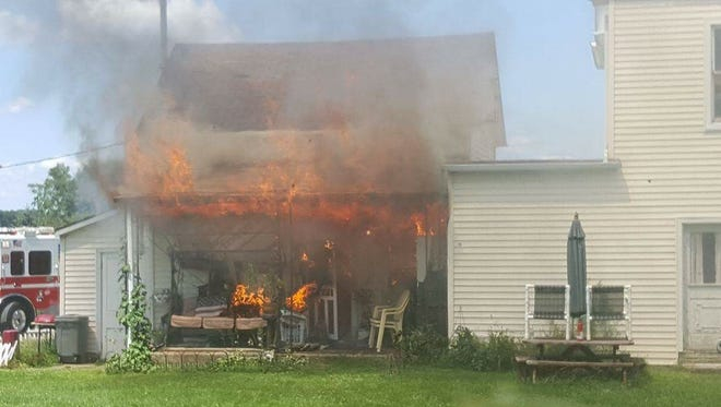 Fire engulfs a home on Sunday afternoon in the 12000 block of Winterstown Road.