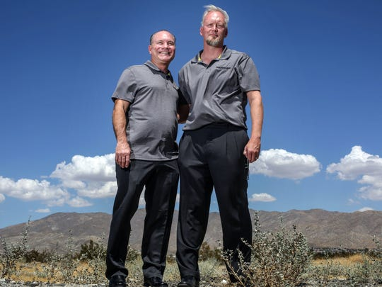 Jeff Breier, COO, left, and Todd Kleperis, CEO of Hardcar Security at Desert Hot Springs on Friday, August 25, 2017. Hardcar Security specializes in transportation for marijuana dispensaries.