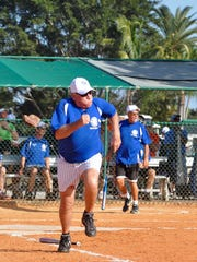 Don Faust runs for first base during the opening men's game for Citrus Park Softball Jan. 2.