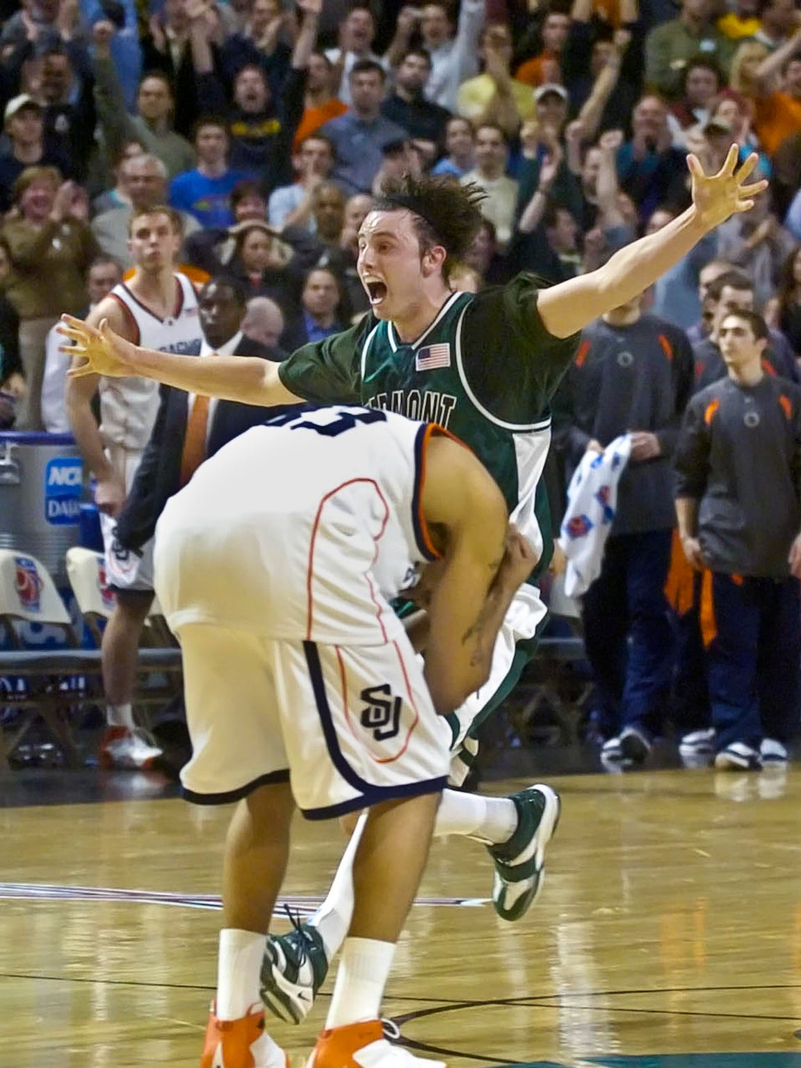 Vermont's David Hehn, seen celebrating the win over Syracuse, was the team's best defender and helped launch its three-year run with a game-winning shot in the 2003 America East championship.