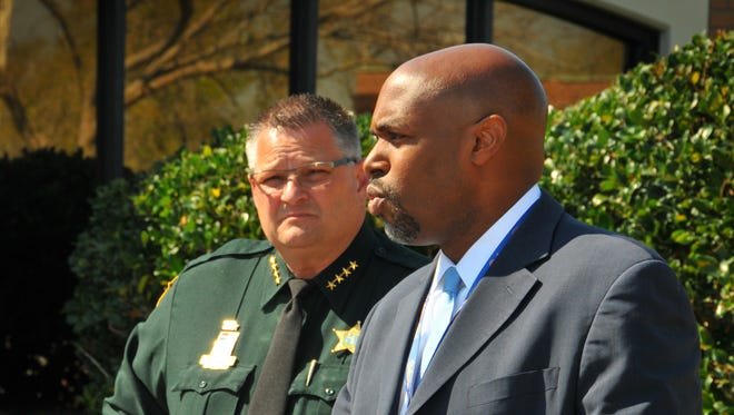 Brevard County Sheriff Wayne Ivey and Brevard County Public School Superintendent Dr. Desmond Blackburn at a previous press conference. Blackburn told FLORIDA TODAY on Friday that he did not support Ivey's controversial STOMP program.