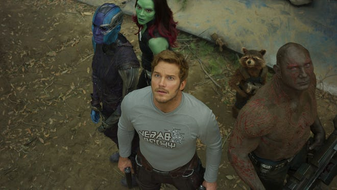 "Nebula (Karen Gillan, from left), Gamora (Zoe Saldana), Star-Lord/Peter Quill (Chris Pratt), Groot (voiced by Vin Diesel), Rocket (voiced by Bradley Cooper) and Drax (Dave Bautista) aren't in Kansas anymore in ""Guardians of the Galaxy Vol. 2."""