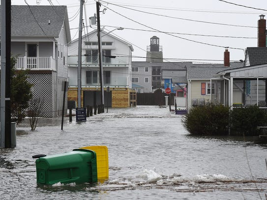 Flooding at Dewey Beach. Many of the streets along