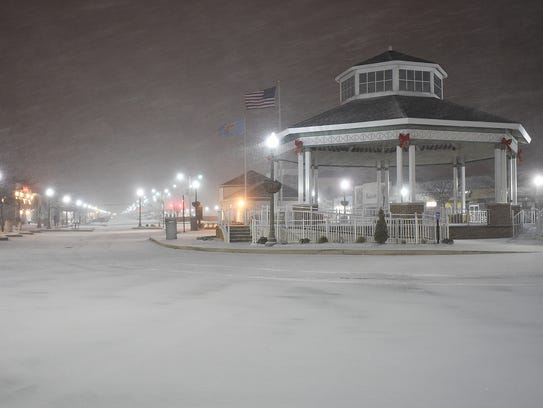 Snow started falling at Rehoboth Beach around 5:15
