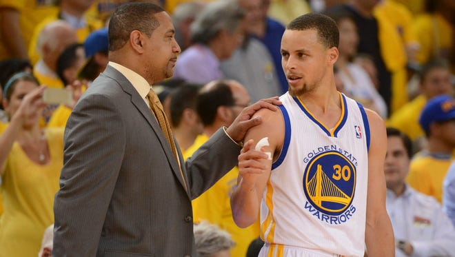 Stephen Curry, right, said he was surprised when Mark Jackson was fired as coach and subsequent quick hiring of Steve Kerr.