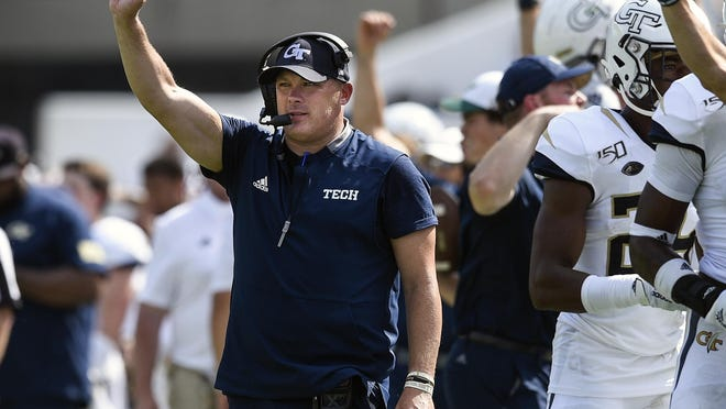 Georgia Tech football coach Geoff Collins reacts during a game against South Florida on Sept. 7, 2019 in Atlanta.
