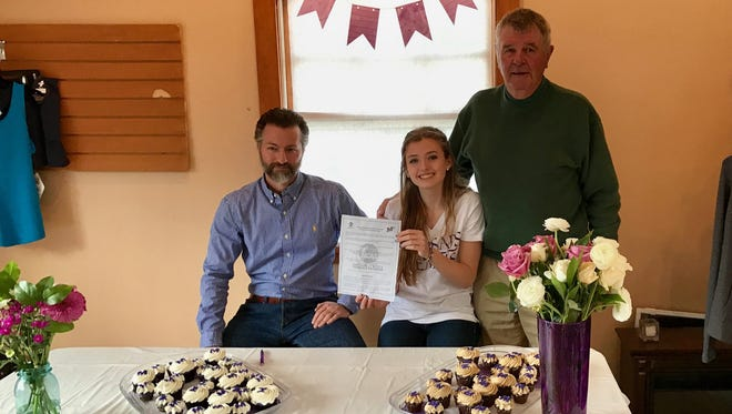 North Buncombe senior Ella Shields has committed to play college tennis for Millsaps (Miss.). She is pictured here with coaches Jean David and Tom Ruffin.