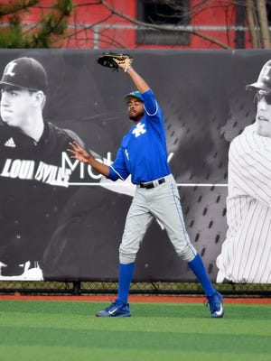 Kentucky's Tristan Pompey (6) makes a catch during their game against Louisville at Jim Patterson Stadium, Tuesday, April. 4, 2017 in Louisville Ky.