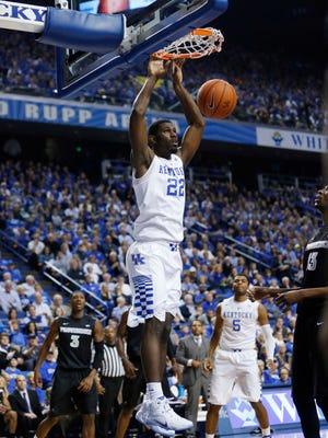 Kentucky Wildcats guard forward Alex Poythress dunks the ball on Nov. 30.