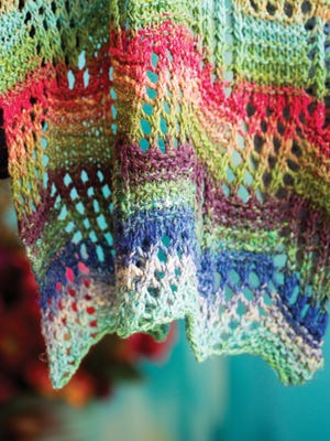 """This is a detail of the Tilted Blocks  scarf from """"Noro Lace."""""""