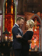 """Arlington farmer Chris Soules and Whitney Bischoff appear during the finale of the reality dating competition series """"The Bachelor,"""" which aired on March 9."""