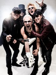 The members of The Scorpions — clockwise from left, Matthias Jabs, Pawel Maciwoda, James Kottak, Klause Meine and Rudolf Schenker – begin a 16-city North American tour Sept. 10