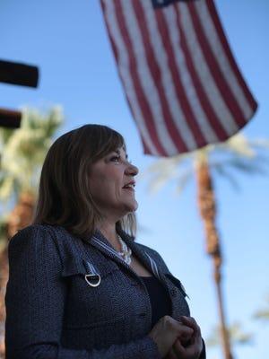 U.S. Senate candidate Loretta Sanchez, who represents central Orange County in the U.S.House, talks to a reporter outside the Democratic Headquarters of the Desert in Cathedral City Saturday.