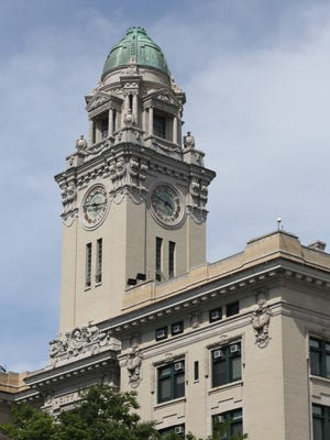 The clock tower at Yonkers City Hall.