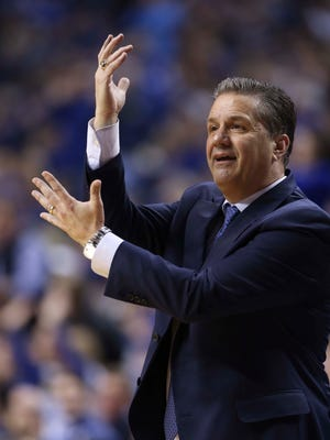 Jan 23, 2016; Lexington, KY, USA; Kentucky Wildcats head coach John Calipari reacts during the game against the Vanderbilt Commodores at Rupp Arena. Kentucky defeated Vanderbilt 76-55.