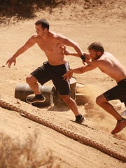 "Morgan Wright (right) competes on Sunday's episode of ""Steve Austin's Broken Skull Challenge"""