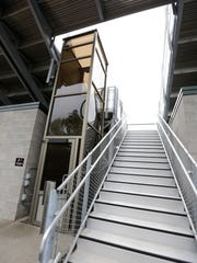 An elevator next to a new stairway as part of the renovation of Athletic Park in Wausau.