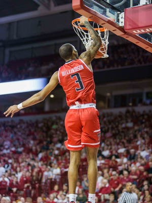 Texas Tech Red Raiders guard CJ Williamson (3) dunks the ball in the second half of play with the Arkansas Razorbacks at Bud Walton Arena. The Razorbacks won in overtime 75-68 on Jan 30, 2016, in Fayetteville, Ark.