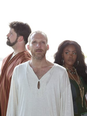 """From left, Ben Gregory plays Judas, Michael Kitts plays Jesus and Erica Patterson plays Mary Magdalene in """"Jesus Christ Superstar."""""""