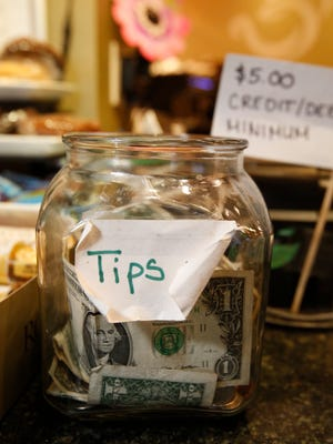 The tip jar at Hastings Tea in White Plains  on Aug. 30, 2016.