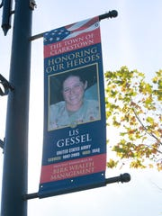 A banner placed by the town of Clarkstown along Main
