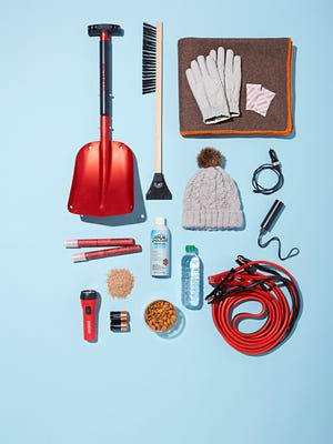 As you navigate icy roads this winter, stock your car with these tools and provisions in case of an emergency.