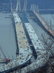 The view of the new Tappan Zee Bridge from Clausland