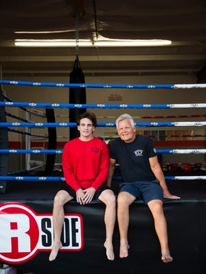 Austin and Barry Polonitza pose for a portrait in their news studio on Monday, February 20, 2017 at American Kenpo Karate & Shootfighting in Bonita Springs. Famed kickboxer, MMA fighter and professional wrestler, Bart Vale, trained the studioÕs owners, father and son Barry and Austin Polonitza. Vale will host a seminar on Saturday at the studio.