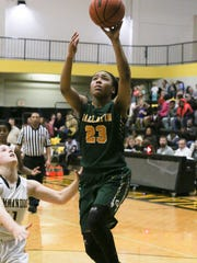 Gallatin High School player Jo'Neca Talley puts up