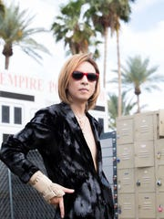 Yoshiki of X Japan is photographed in the press area at the 2018 Coachella Valley Music and Arts Festival in Indio, California. Saturday 20, 2018
