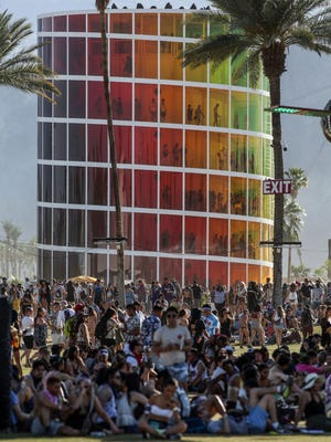 The crowd builds at the Coachella Valley Music and Arts Festival at Empire Polo Club in Indio on April 22, 2018.