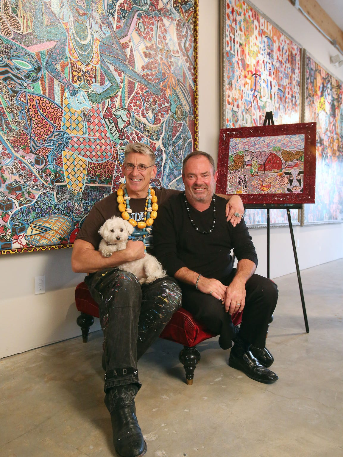 Artists Lon Michels, 52, and Todd Olson, 55, in December in their recently opened art gallery in Palm Springs.