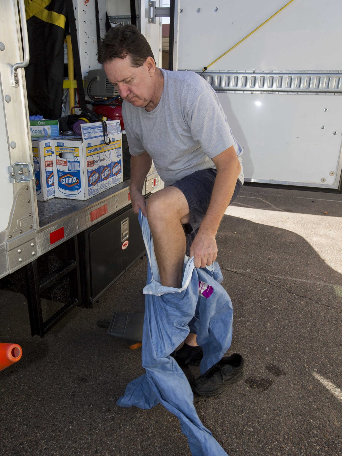 Dale Cillian, owner of Biohazard Cleanup Company uses
