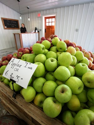 Apples for sale in the new tap room at Bad Seed Cider in Highland, N.Y. Oct. 5, 2014.
